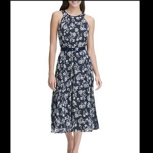 Tommy Hilfiger Floral Chiffon Belted Dress